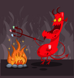Devil in hell cartoon character vector