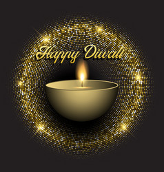 diwali background with gold glittery lights vector image