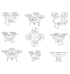 Drone uav industrial blueprint wire-frame style vector