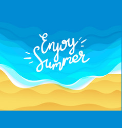 Enjoy summer with beach and ocean waves vector