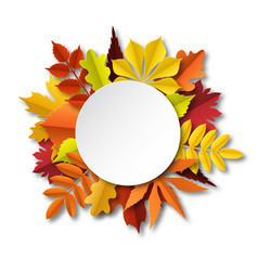 fall leaves composition paper cut frame vector image