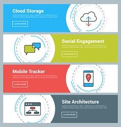 Flat Design Concept Set of Web Banners Cloud vector image