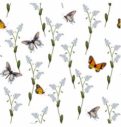 Forget-me-not and butterfly seamless pattern vector