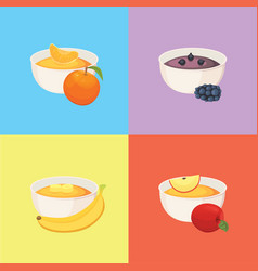 Fruit organic jam and smoothie vector