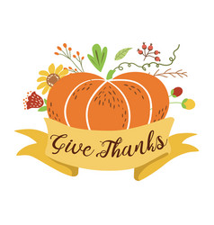 give thanks pumpkin flowers happy thanksgiving vector image