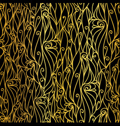 Golden black abstract scrolls swirls vector