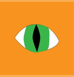 Green eye on orange background vector