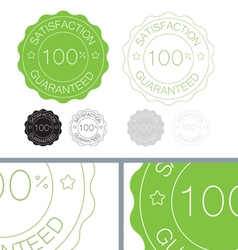 Green satisfaction guaranteed seal design set vector
