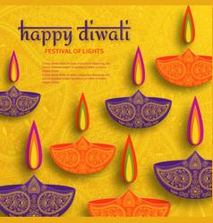 greeting card for diwali festival celebration in vector image
