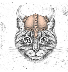 Hipster animal cat wearing a viking helmet vector