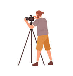 Hipster male photographer use tripod camera vector