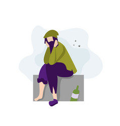 homeless jobless person character banner vector image