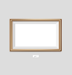 horizontal golden frame on the wall eps10 vector image