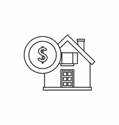 House and dollar sign icon outline style vector image