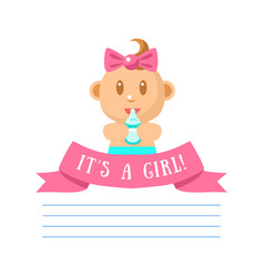 its girl invitation card banner template with cute vector image