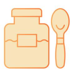jam jar and spoon flat icon fruit jam orange vector image