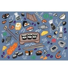Japanese food - sushi doodle set vector image
