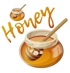 jar honey and stick cartoon icon vector image