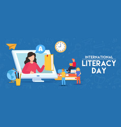 literacy day banner student group online class vector image