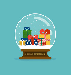 merry christmas glass ball with christmas gifts vector image