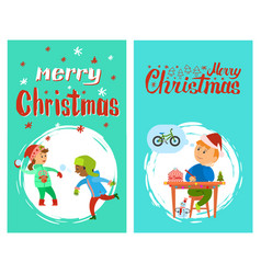 merry christmas poster with lettering children vector image