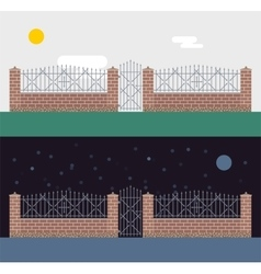 Metallic and brocks fence isolated on night vector