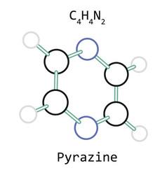 molecule c4h4n2 pyrazine vector image