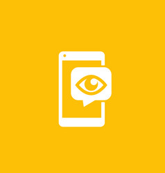 Monitoring icon eye on smartphone screen vector