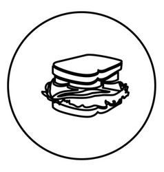 Monochrome contour circular frame with sandwich vector
