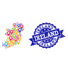 Mosaic map of ireland island with map pins and vector