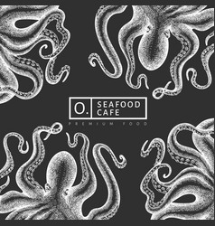 Octopus design template hand drawn seafood on vector