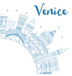 Outline Venice Skyline Silhouette vector