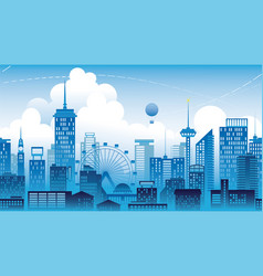 panorama of the city a metropolis seamless vector image