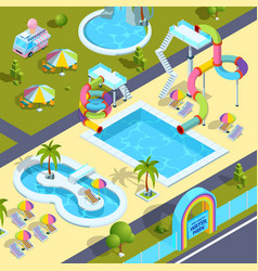 Pictures of outdoor attractions in water park vector