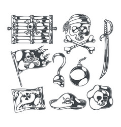pirates and treasures set vector image
