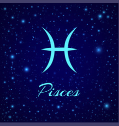 pisces zodiac sign on a night sky vector image