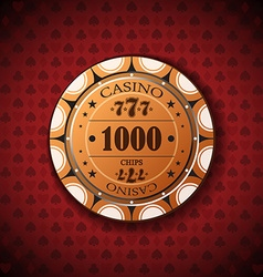 Poker chip nominal one thousand on card symbol vector