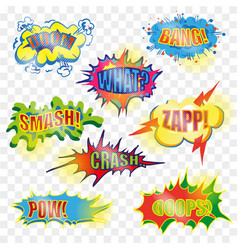 pop art comic explosive bubble set vector image