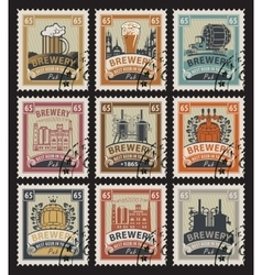 Postage stamps on theme beer vector