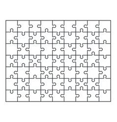 puzzle jigsaw set of 63 pieces vector image
