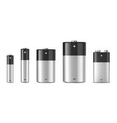 Realistic alkaline batteriy icon set vector