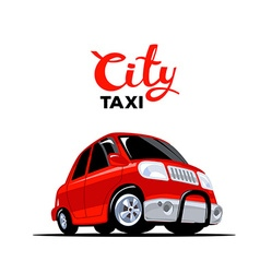 Red taxi car with header on white backgro vector