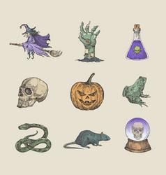 Retro style halloween collection vector