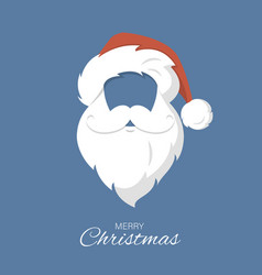 santa claus hat and beard merry christmas vector image