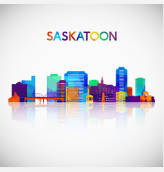 saskatoon skyline silhouette in colorful vector image