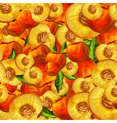 Seamless peach fruit sliced pattern vector image
