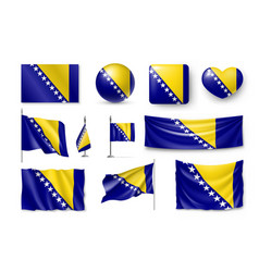 Set bosnia and herzegovina flags banners banners vector