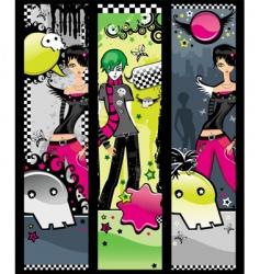 Set emo banners vector