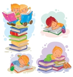 set icons small children reading a book vector image