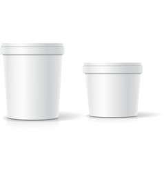 set of blank plastic bucket container vector image vector image